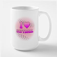 I Love Softball (Pink Softball) Large Mug