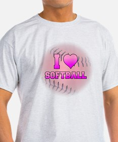 I Love Softball (Pink Softball) T-Shirt