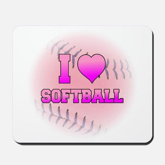 I Love Softball (Pink Softball) Mousepad