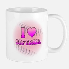 I Love Softball (Pink Softball) Mug