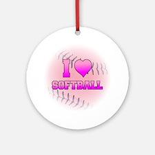 I Love Softball (Pink Softball) Ornament (Round)