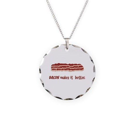 Bacon Junk Necklace Circle Charm