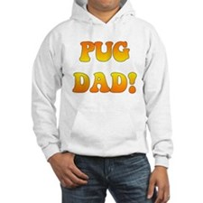 """pug dad"" in orange gradient Hoodie"