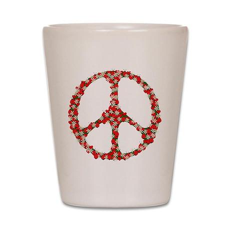 Ladybugs Peace Sign Shot Glass
