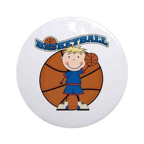 Blond Boy Basketball Ornament (Round)