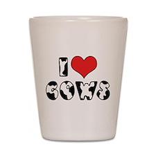 I Love Cows 2 Shot Glass