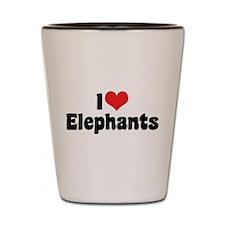 I Love Elephants 2 Shot Glass