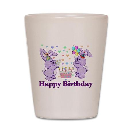 Purple Birthday Bunnies Shot Glass