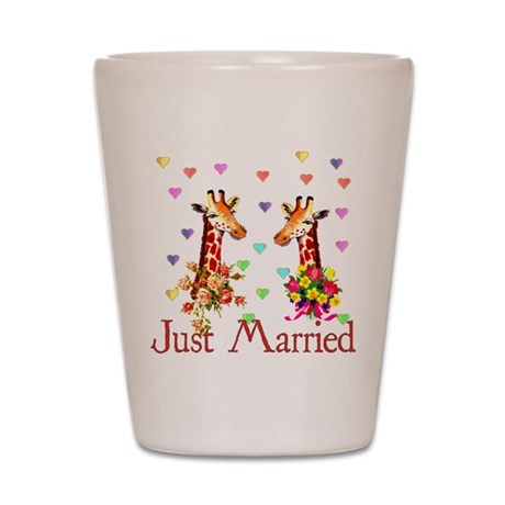 Wedding Giraffes Shot Glass