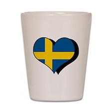 I Love Sweden Shot Glass