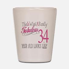 34th Birthday Gifts Shot Glass