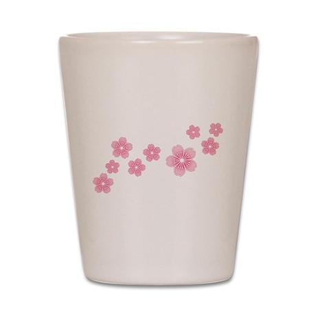 Pink Cherry Blossoms Shot Glass