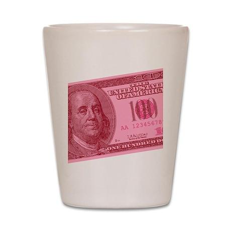 Pink Hundred Dollar Bill Shot Glass