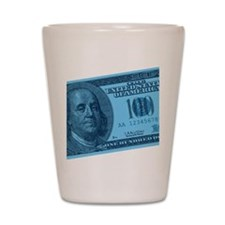 Blue Hundred Dollar Bill Shot Glass