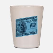 Blue Hundred Dollar Bill Shot Glass