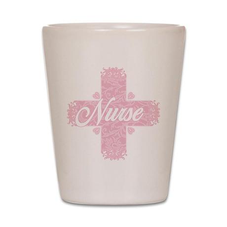 Nurse Pink Lacy Cross Shot Glass