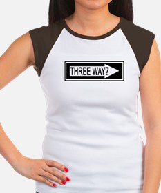 "SharpTee's ""Three Way?"" Women's Cap Sleeve T-Shirt"