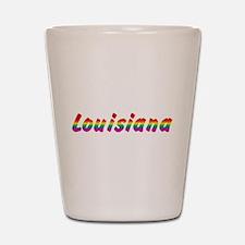 Rainbow Louisiana Text Shot Glass