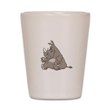 Rhino with an Attitude Shot Glass