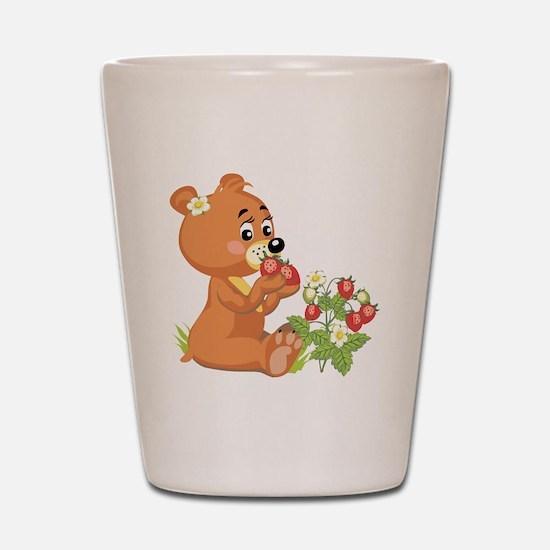 Teddy Bear Eating Strawberrie Shot Glass