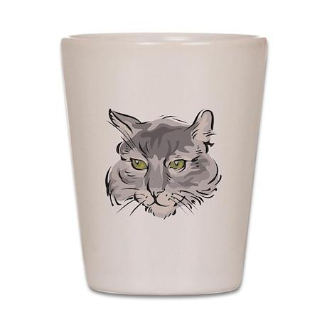 Cute Grey Cat Face Shot Glass