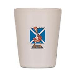 Goofy Scottish Man in Kilt Shot Glass