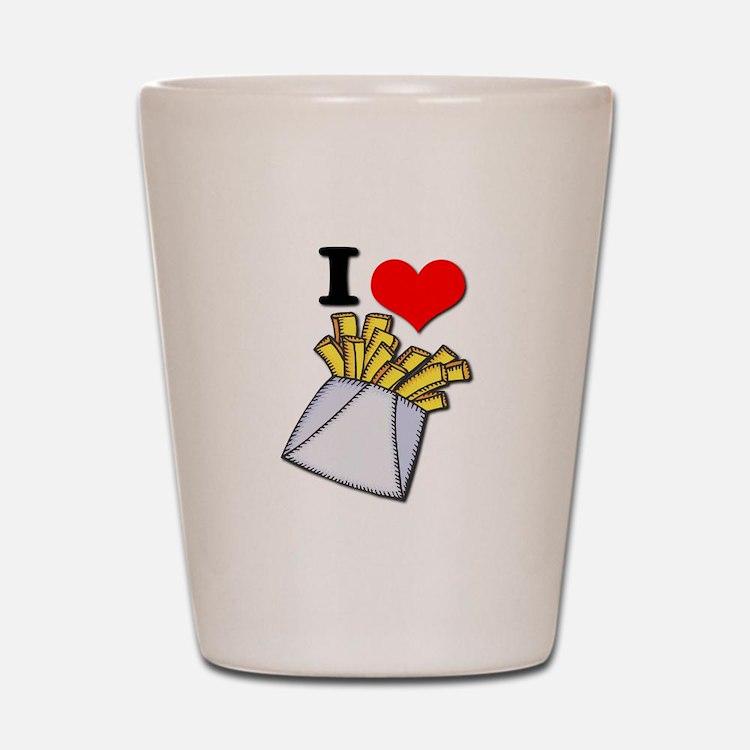 I Heart (love) French Fries Shot Glass