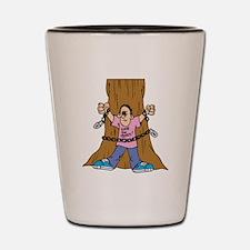 Save the Trees Cartoon Shot Glass