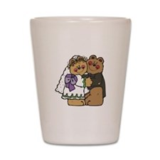 Country Style Bride and Groom Shot Glass