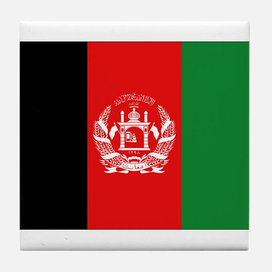 Afghan Flag Tile Coaster