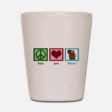 Peace Love Beavers Shot Glass