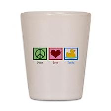 Peace Love Ducks Shot Glass
