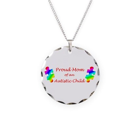Autism Mom Necklace Circle Charm
