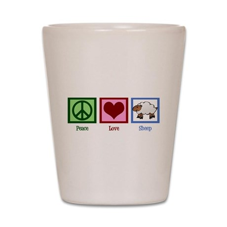 Peace Love Sheep Shot Glass