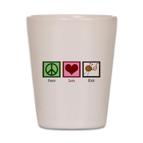 Peace Love Knit Shot Glass