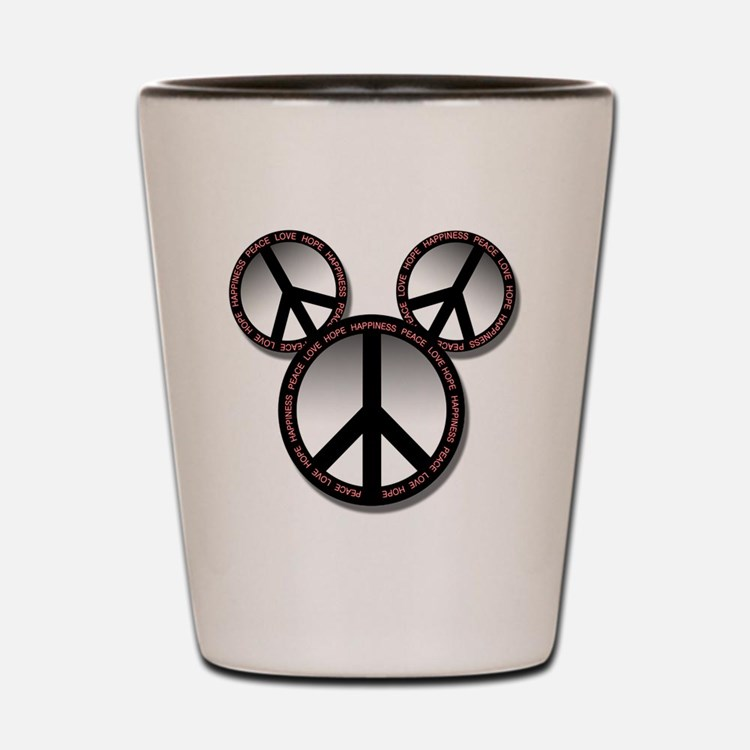 Peace love hope black Shot Glass