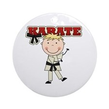 Blond Boy Karate Kid Ornament (Round)
