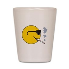 Smoking Cigarette Smiley Face Shot Glass