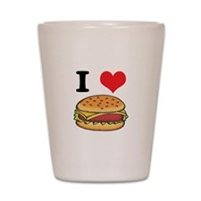 I Heart (Love) Cheeseburgers Shot Glass
