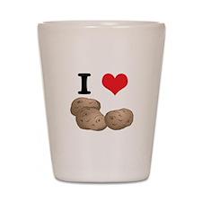I Heart (Love) Potatoes Shot Glass