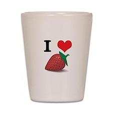 I Heart (Love) Strawberries Shot Glass