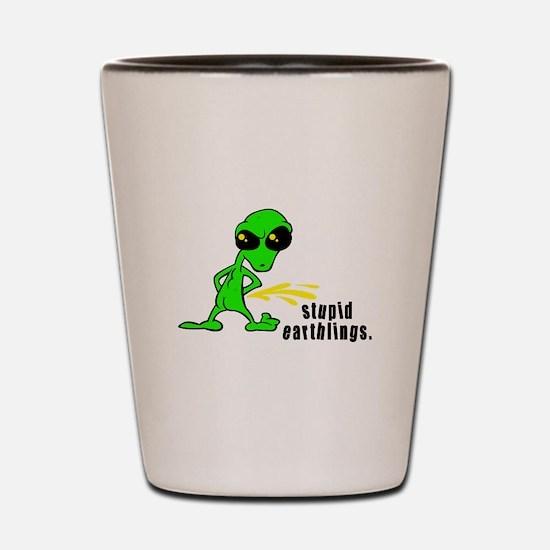 Stupid Earthlings Pissing Ali Shot Glass