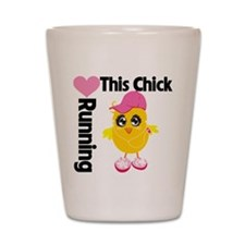 This Chick Loves Running Shot Glass