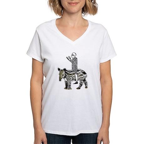 tapirRider Women's V-Neck T-Shirt