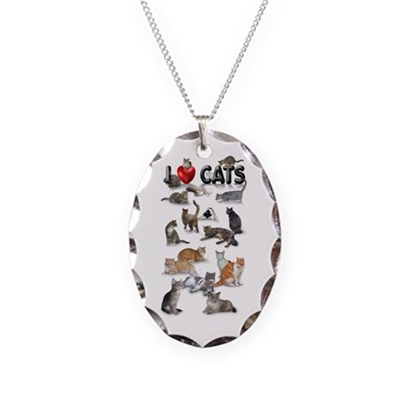 """Necklace Oval Charm """"I Love Cats"""""""