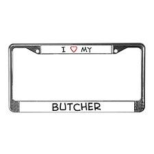 I Love Butcher License Plate Frame