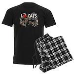 """Men's Dark Pajamas """"I Love Cats"""""""