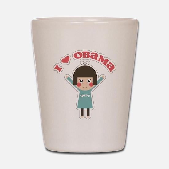 I Love Obama Hope Shot Glass