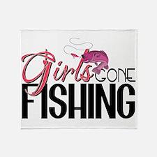 Girls Gone Fishing Throw Blanket