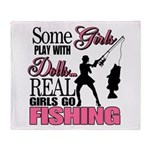 Real Girls Go Fishing Throw Blanket